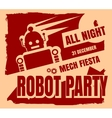 Retro robot party poster vector image