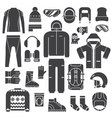 Winter Sports Clothes Outline Icons vector image