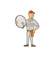 Cable TV Installer Guy Standing vector image vector image