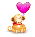 icon - cute toy monkey holding a balloon vector image