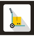 Hand cart with cardboard icon flat style vector image