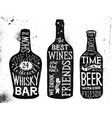 alcoholic beverages hand drawn lettering set vector image