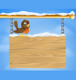 christmas robin on wooden sign vector image