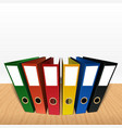 colorful box file folder on desk background vector image