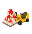 Forklift Truck Loading A Stack of Gift Boxes vector image