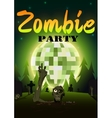 Halloween Zombie Party on green disco ball moon vector image