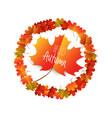 hello autumn with autumn leaves isolated on white vector image