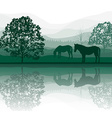 Horses by a Meadow and Lake vector image