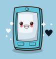 kawaii cellphone emoticon image vector image