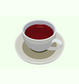 porcelain tea cup with black tea inside on a white vector image