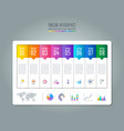 timeline infographic business concept with 8 vector image