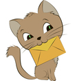 a smiling cat with an envelope on vector image