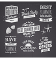 chalkboard style typographic summer designs vector image