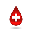 Red blood drop with cross isolated on white vector image