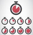 Red stopwatch icon vector image
