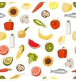 Seamless pattern with fresh fruits vegetables vector image