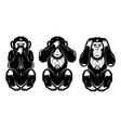 set of three monkeys - hear no see no do not say vector image