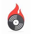 Vinyl with fire logo design vector image