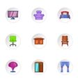 Home furnishings icons set cartoon style vector image