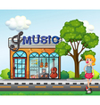 A young girl in front of the music store vector image