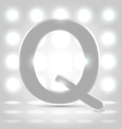 Q over lighted background vector