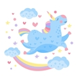 Cute Rainbow Unicorn in the Clouds vector image vector image