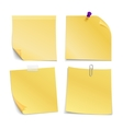Adhesive blank notes stick with pin clip and vector image