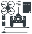 Complete set for quadrocopter Flat icons vector image