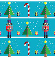 Geometric xmas pattern with nutcracker vector image