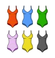 Stripes Woman Swimsuits Color Set on White vector image