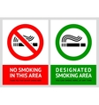 No smoking and Smoking area labels - Set 12 vector image vector image