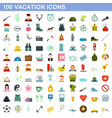 100 vacation icons set flat style vector image