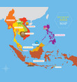 southeast asia map with country icons and location vector image