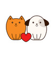 cute smiling cat and puppy dog with heart vector image