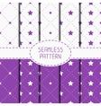 Set of purple hipster fashion geometric seamless vector image