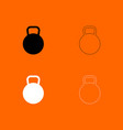 kettlebell black and white set icon vector image