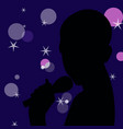 woman karaoke singer with microphone in the hand vector image