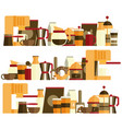 Coffee elements flat icons set in web design vector image
