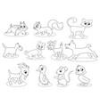 coloring cartoon animals vector image vector image