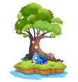 An island with a blue monster writing vector image vector image