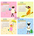 2015 calendar with cartoon and funny sheep autumn vector image