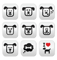 Dog buttons set - happy sad angry isolated on wh vector image vector image