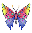 Strass colored outlined butterfly vector image