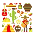 Mexico decorative icons set vector image