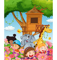 Children and animals in the garden vector image