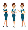 business women characters four poses with tablet vector image