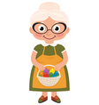 Grandmother with a basket of Easter eggs vector image
