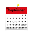 Leaf calendar 2017 with the month of September vector image