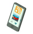 rss phone icon isometric 3d style vector image