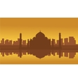 Silhouette of Taj Mahal and city vector image